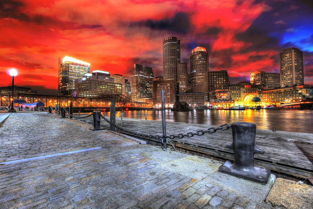Boston Cityscape at Night 01 - Stock Photo
