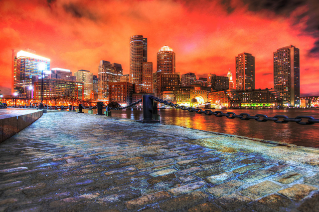 Boston Cityscape at Night 02 - Stock Photo