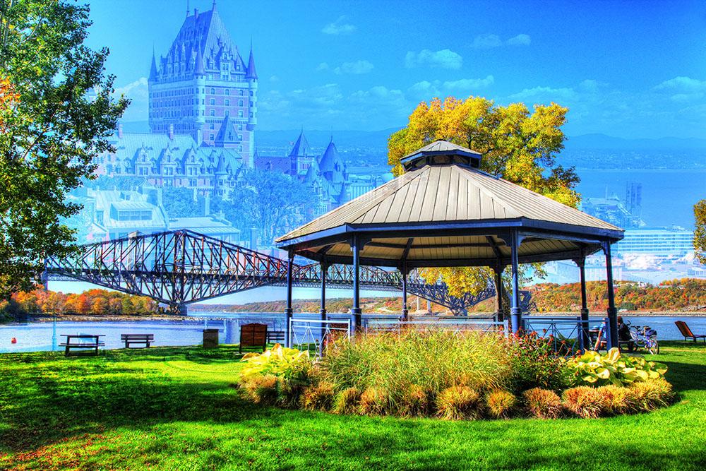 Quebec City Park and Bridge - Stock Photo