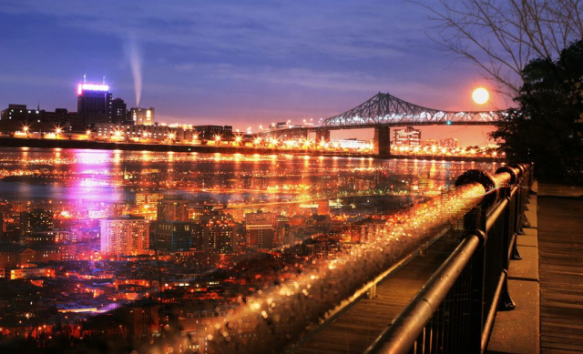 Montreal Jacques Cartier Bridge and River - Stock Photo