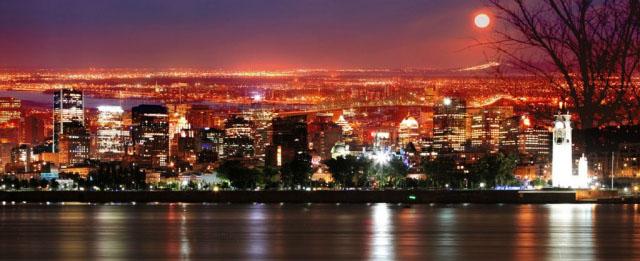Montreal Skyline in a Beautiful Night - Stock Photo