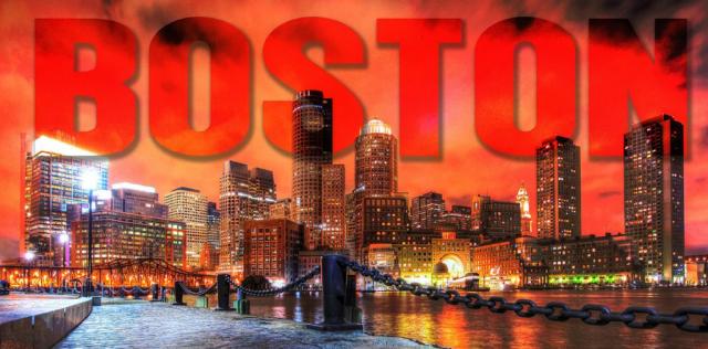 Boston City with Text 1 - Stock Photo