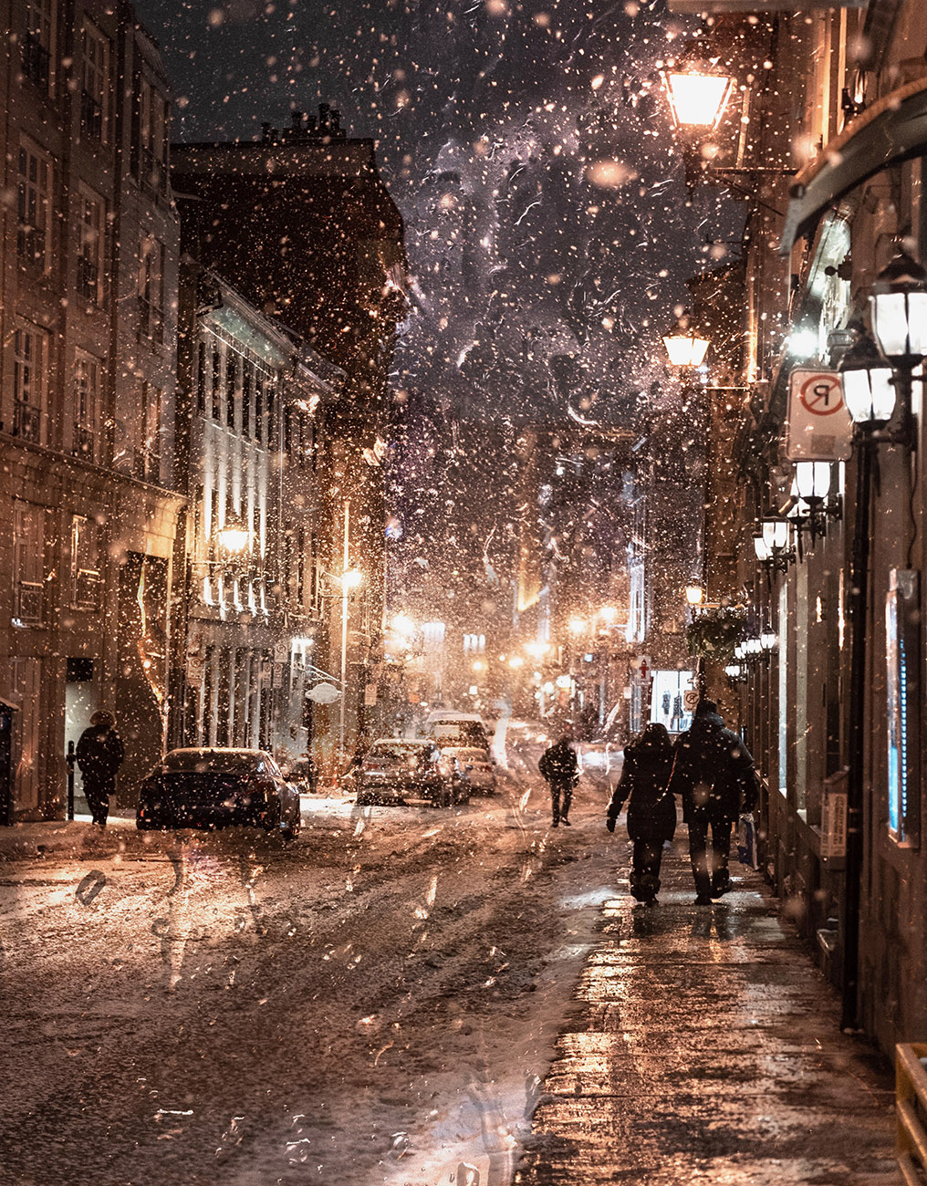 Bad Winter Weather in City Street - Stock Photo