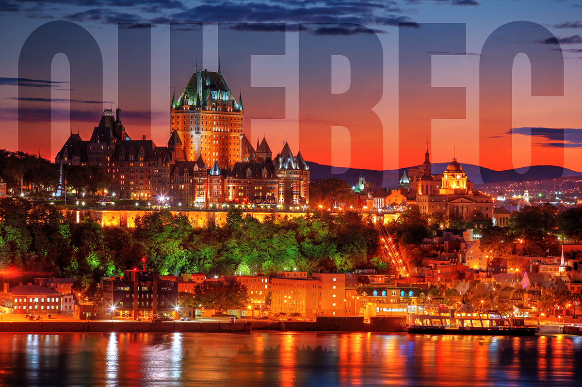 Quebec Frontenac Castle Montage with Text 02 - Stock Photo