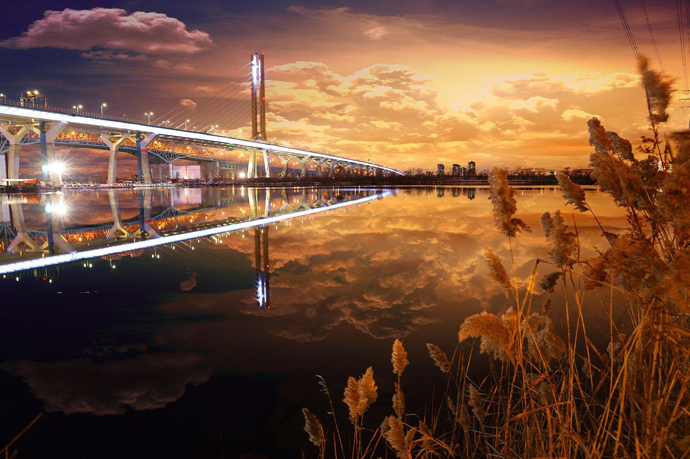 New Champlain Bridge in Montreal City at Night - Stock Photo