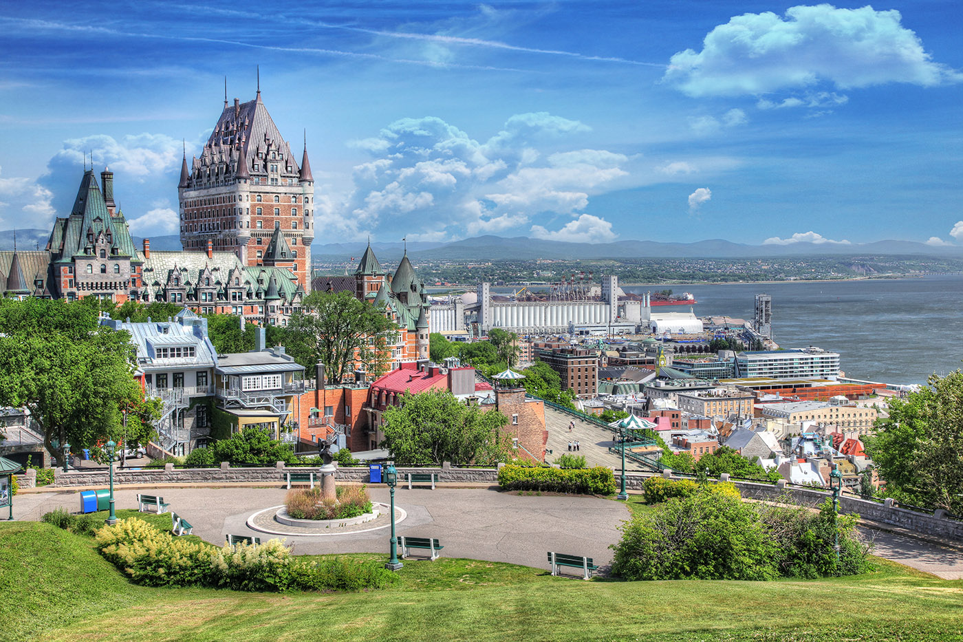 Old Quebec City District in Summer - Stock Photo