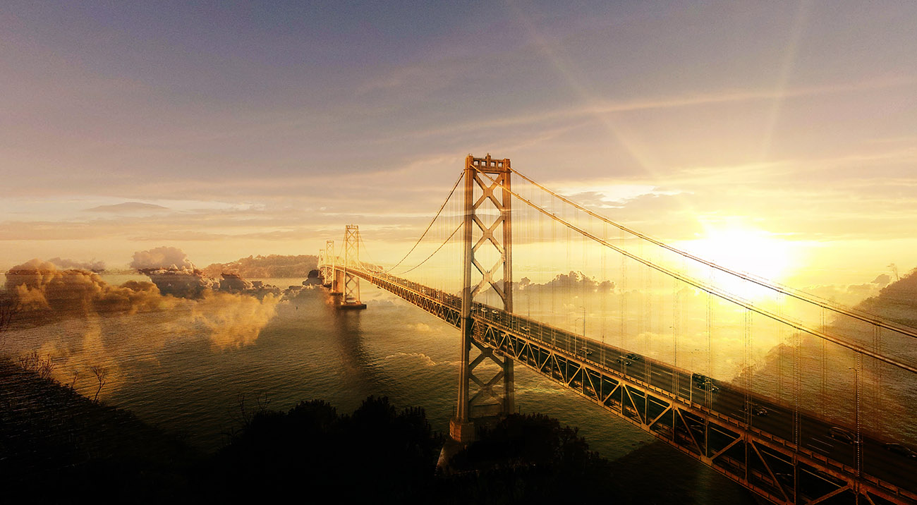Surreal Suspension Bridge 02 - Stock Photo