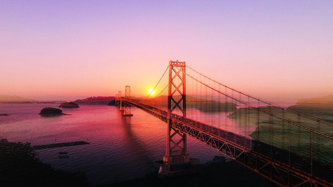 Surreal Suspension Bridge 03 - Stock Photo