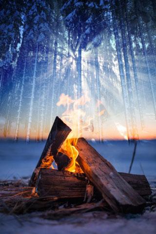 Wintery Wood Fire 01 - Stock Photo
