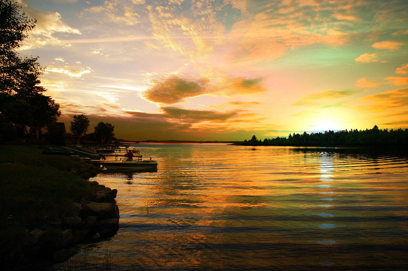 Perfect Sunset Lake - Stock Photo