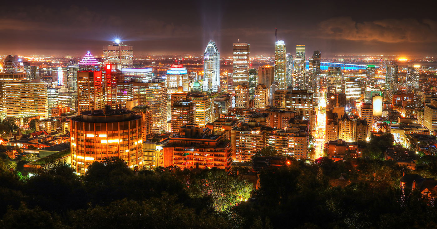 2020 Montreal City Sight at Night From Mount Royal Lookout - Stock Photo