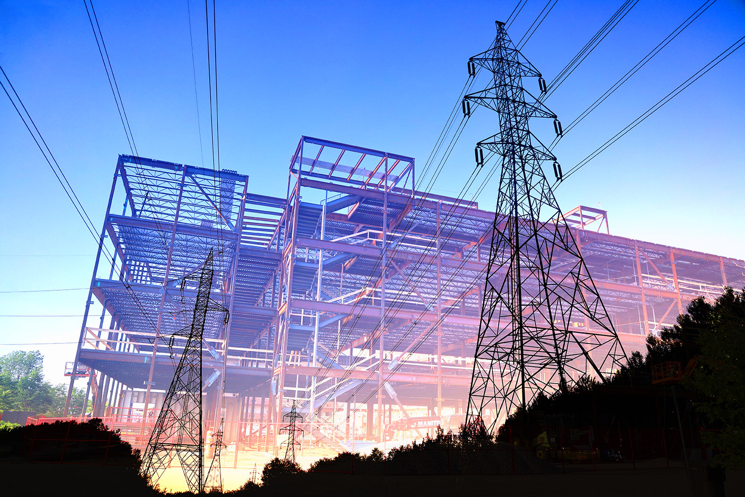Construction Industry Electrification Concept - Stock Photo