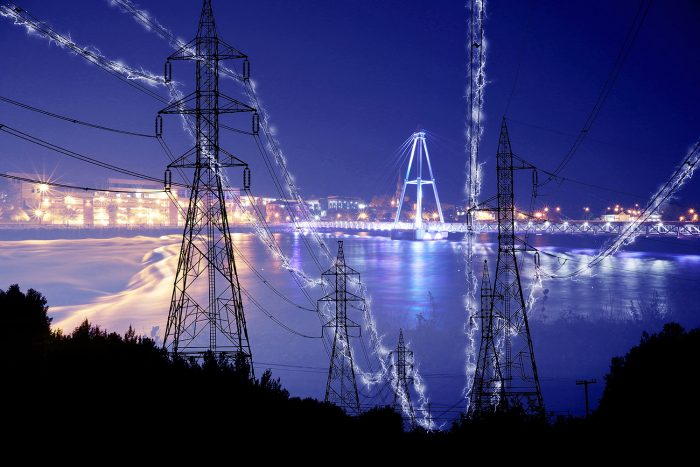 Small Town Electrification at Night in Blue
