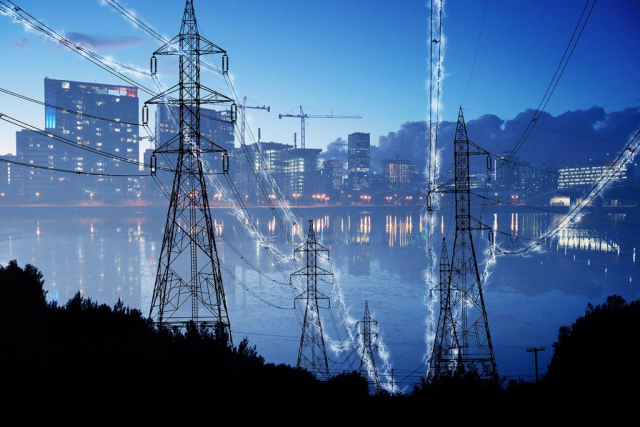 Urban Electrification Concept in Blue - Stock Photo